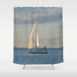 Sunlit Sailboat Shower Curtain