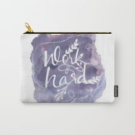 Work Hard Print, Purple Wall Art, Watercolor Typography Poster, Motivational Home Office Decor Carry-All Pouch