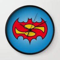 comic Wall Clocks featuring Superbatman comic by victimArte