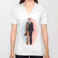 fringe V-neck T-shirts featuring 2 WALTER BISHOP (FRINGE) by Dianah B