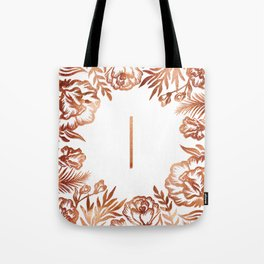 Letter I - Faux Rose Gold Glitter Flowers Tote Bag