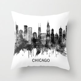 Chicago Illinois Skyline BW Throw Pillow