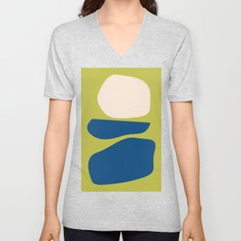 Organic Shapes in Blue and Lime Unisex V-Neck