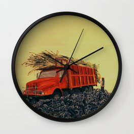 sugar cane and truck on fire Wall Clock