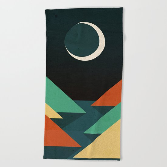 Quiet stream under crescent moon Beach Towel