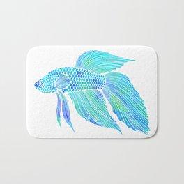 Blue Beta Fish - ocean, sea, beach, watercolor Bath Mat