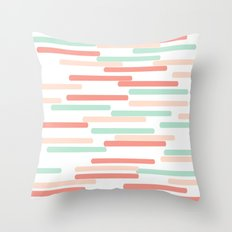 Mint Coral stripes minimal abstract basic home office dorm college trendy decor gifts Throw Pillow