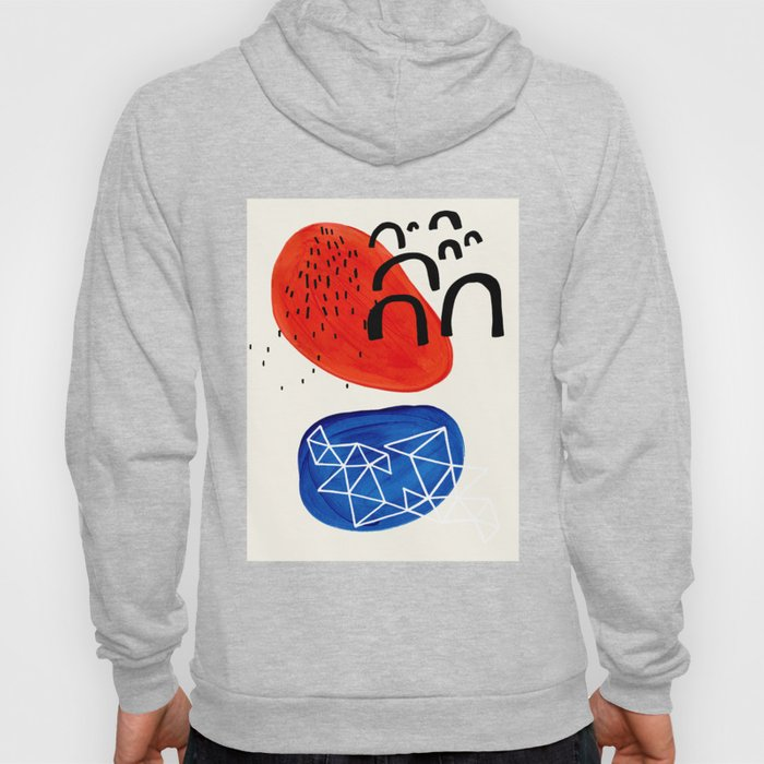 Mid Century Modern abstract Minimalist Fun Colorful Shapes Patterns Orange Blue Bubbles Organic Hoody