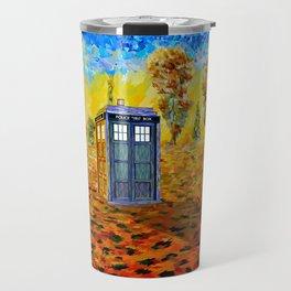 Blue phone Booth at Fall Grass Field Painting Travel Mug