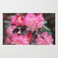 novelty Area & Throw Rugs featuring Dreamy Pink Rhododendrons by Moody Muse