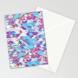 Blue magenta marble grungy triangles Stationery Cards