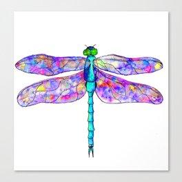 Neon colors rainbow dragonfly Canvas Print