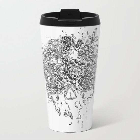 Skull Flower Metal Travel Mug