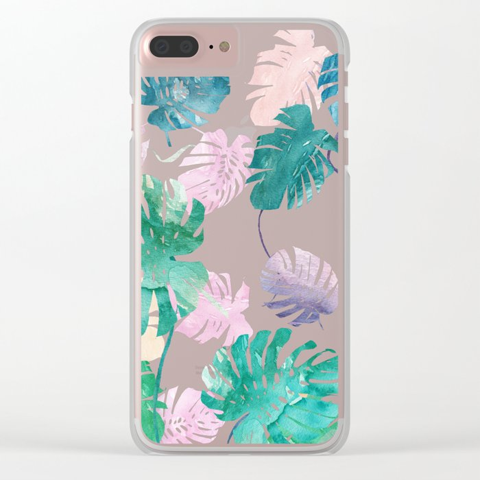 Tropical Leaves Watercolor Clear iPhone Case