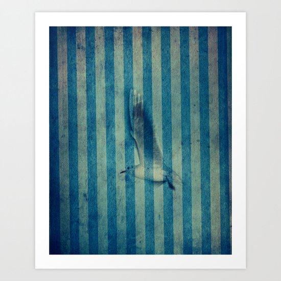 seagull in cyan Art Print