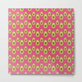 Medium Pink Avocado Pattern Metal Print