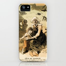1890 Drowned fishermen charity ball by Chéret iPhone Case