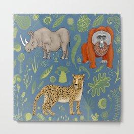 endangered animals, black rhino, amur leopard, bornean orangutan Metal Print
