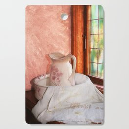 Good morning- vintage pitcher and wash bowl Cutting Board