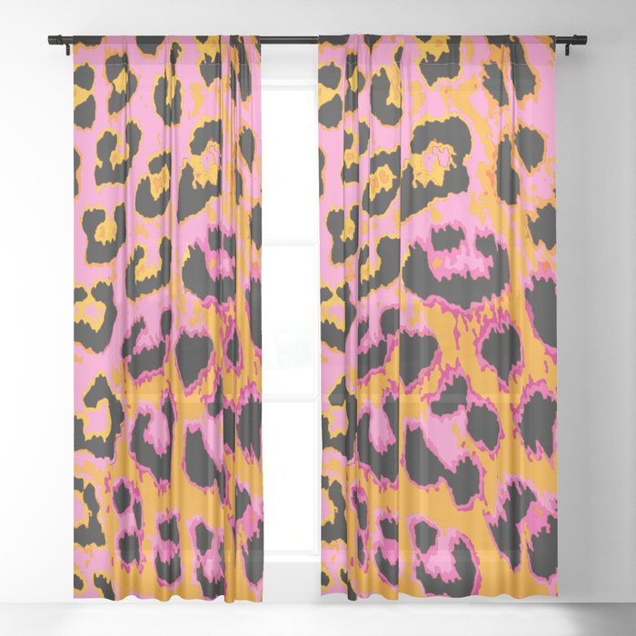 Gold and Pink Leopard Spots Sheer Curtain