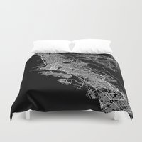 oakland Duvet Covers featuring oakland map california by Line Line Lines