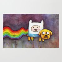 finn and jake Area & Throw Rugs featuring Nyan Time with Jake and Finn by Olechka
