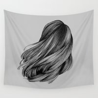 hair Wall Tapestries featuring hair by Isabel Seliger