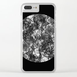Silver Moon - Abstract, textured silver foil lunar design Clear iPhone Case