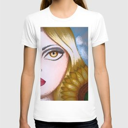 LADY with BIG EYE and SUNFLOWER T-shirt