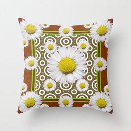 Modern Coffee Brown Deco Style Shasta Daisies Art Throw Pillow
