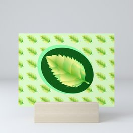 Green leaf of the tree. Leaf linden or apple for background or a logo or a pattern. Mini Art Print