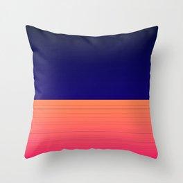 Vibrant Navy Blue Orange Pink Stripe Throw Pillow