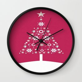 Christmas Tree Of Snowflakes and Stars On Rose Red Background Wall Clock