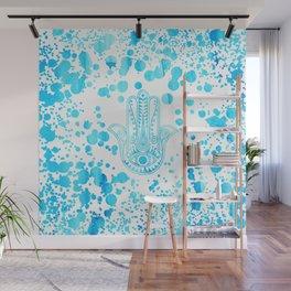 Aqua blue watercolor confetti hamsa hand of Fatima Wall Mural