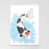 koi fish Stationery Cards featuring Koi fish  by Art & Be