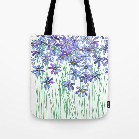 Purple Daisies in Watercolor & Colored Pencil Tote Bag