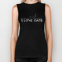 I Love Cats Biker Tank