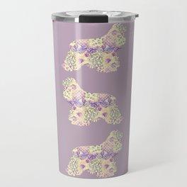 American Cocker Spaniel Vintage Floral Pattern Mauve Lilac Lavender Cream Travel Mug