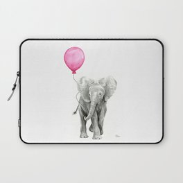 Baby Elephant with Pink Balloon Laptop Sleeve