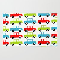 cars Area & Throw Rugs featuring cars by laura mendoza v.