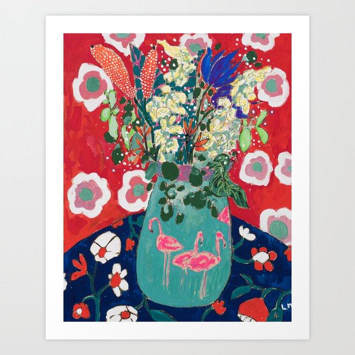 Wild Flowers in Flamingo Vase Floral Painting Art Print