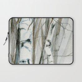 Winter Birch Trees Woodland Watercolor Original Art Print Laptop Sleeve