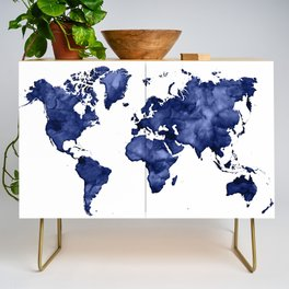 Dark navy blue watercolor world map Credenza