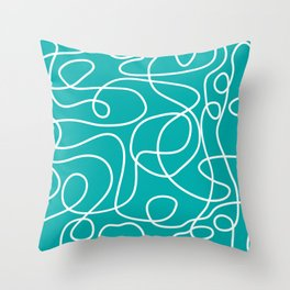 Doodle Line Art | White Lines on Teal Green Throw Pillow