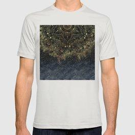 Stylish Gold floral mandala and confetti T-shirt
