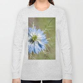 Blue flower close up Nigella love in the mist Long Sleeve T-shirt