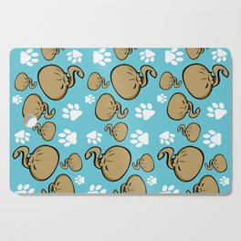 Dumpling Cat blue pattern Cutting Board