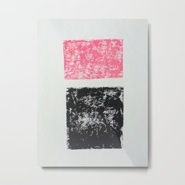Pink and Black abstract squares Metal Print