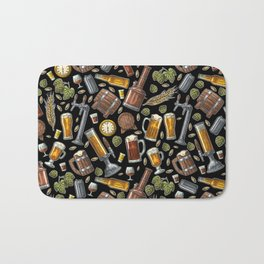 Beer Makes The World Go Round - Black Pattern Bath Mat