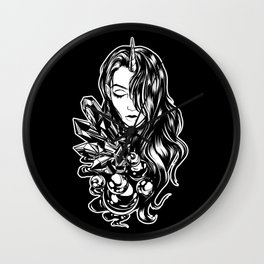 Dark Unicorn Girl Wall Clock